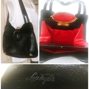 Vintage Lou Taylor Black Shoulder Handbag Purse